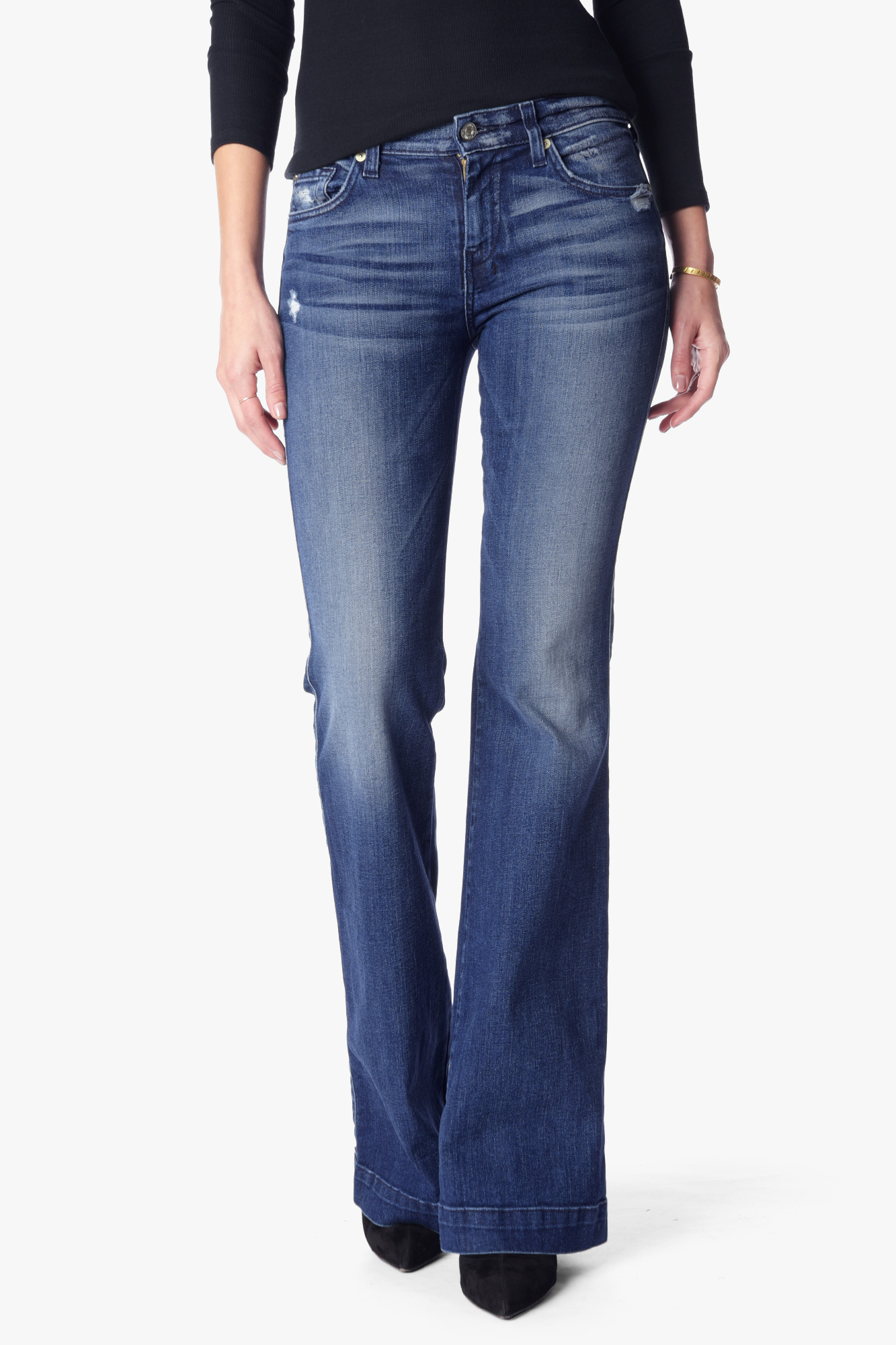 7 For All Mankind Womenu0026#39;s Dojo Original Trouser Jean in Lake Blue