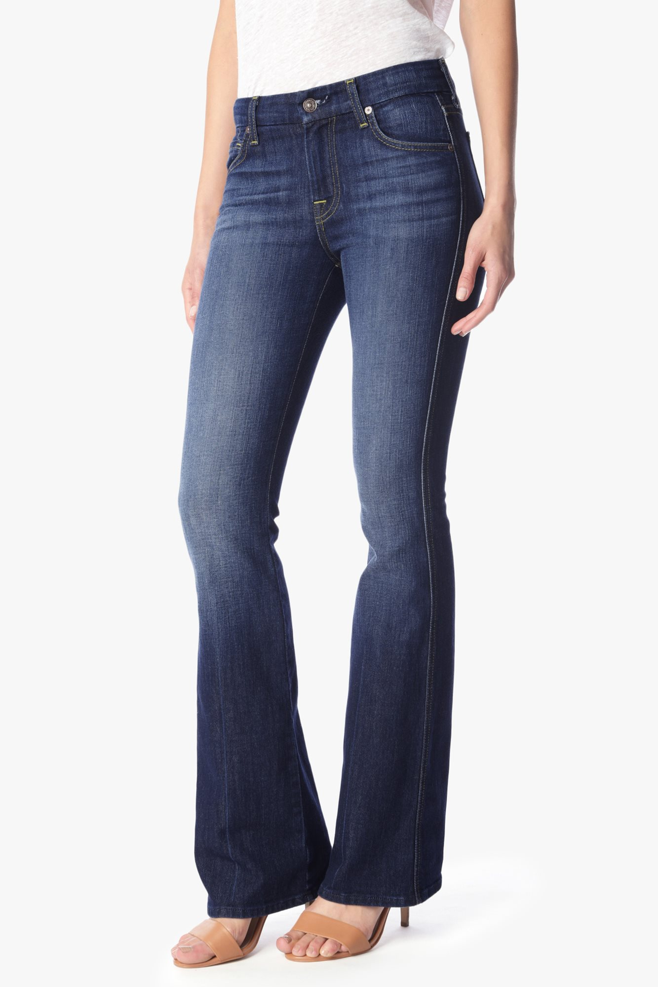 7 For All Mankind Womens A Pocket Flare Jean In Nouveau New York Dark