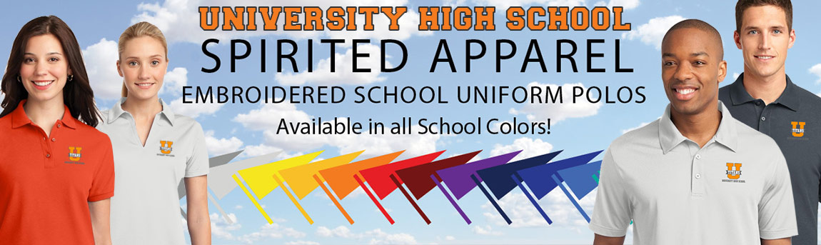 Shop for University High School Uniforms & Polos with optional Titans Logo