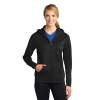 Sport-Tek Ladies Sport-Wick Fleece Full-Zip Hooded Jacket L