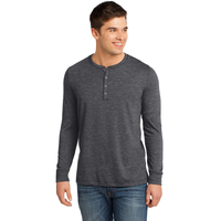 District - Young Mens Gravel 50/50 Long Sleeve Henley Tee D