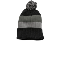 District - Vintage Striped Beanie with Removable Pom DT627