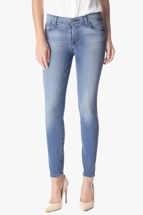 7 For All Mankind Women's Ankle Skinny with Squiggle Jean in Light Blue Hue