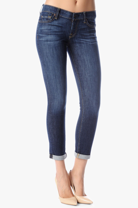 7 For All Mankind Women's The Skinny Crop & Roll Jean in Nouveau New York Dark